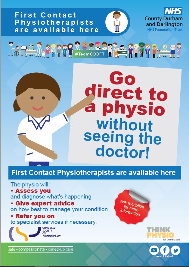 First Contact Physiotherapists are available here